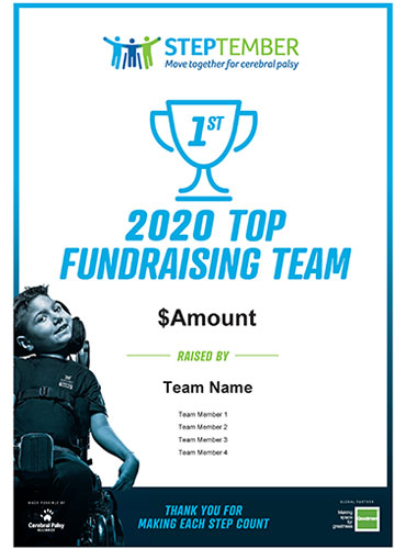 STEPtember Certificates - Top 3 Team Fundraisers