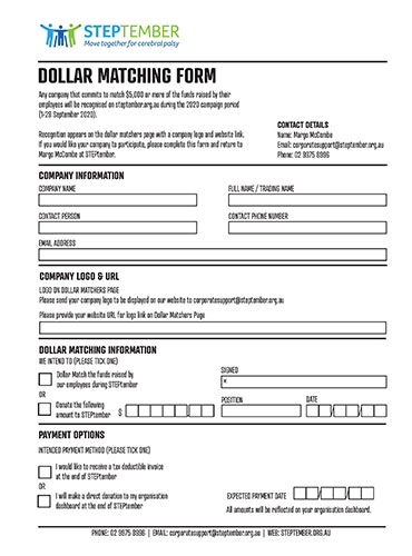 Dollar Matching Form