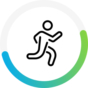 Running icon with circular chart